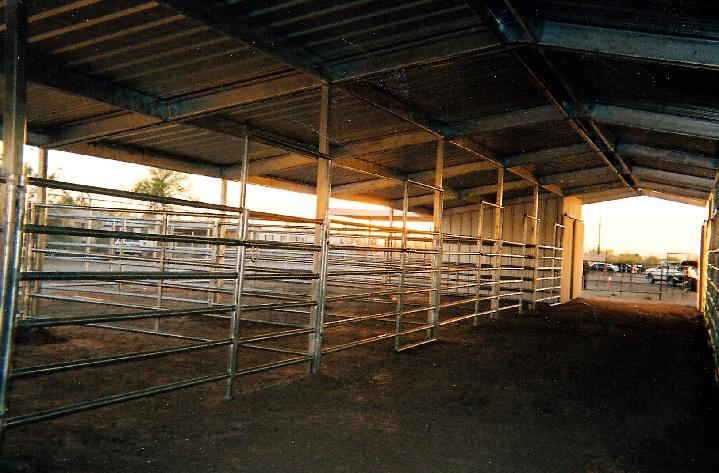 Covered Corrals/Open Air Barn 5' 6 rail Corrals